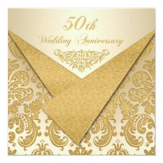 Convite do aniversário do damasco 50th das aletas