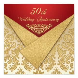 Convite do aniversário do damasco 50th do ouro das
