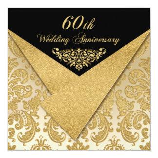 Convite do aniversário do damasco 60th das aletas convite quadrado 13.35 x 13.35cm