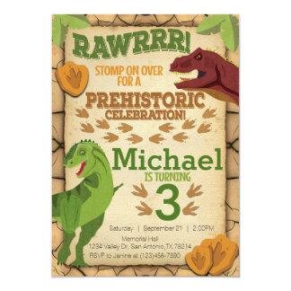 Convite do aniversário do dinossauro, convite de