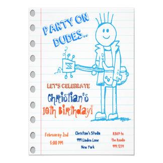 Convite do aniversário do Doodle da guitarra da