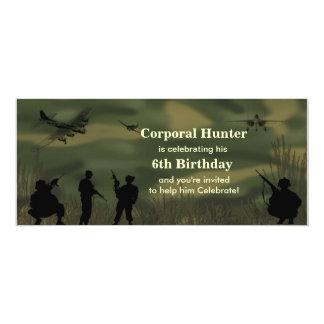Convite do aniversário do exército do menino
