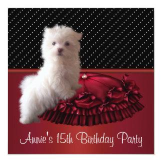 Convite do aniversário do filhote de cachorro