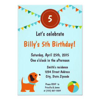 Convite do aniversário do filhote de cachorro convite 12.7 x 17.78cm