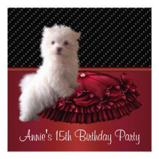 Convite do aniversário do filhote de cachorro pret