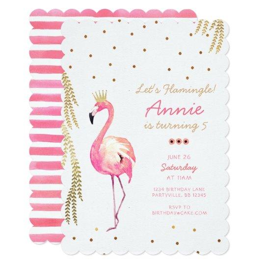 Convite Do Aniversário Do Flamingo Zazzlecombr