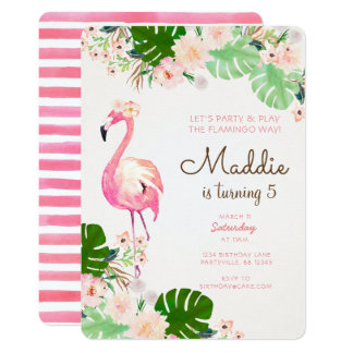 Convite do aniversário do flamingo