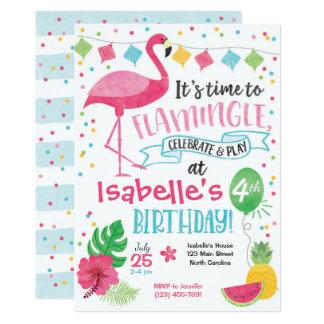 Convite do aniversário do flamingo do verão,