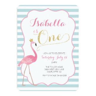 Convite do aniversário do flamingo primeiro
