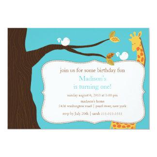 Convite do aniversário do girafa do safari