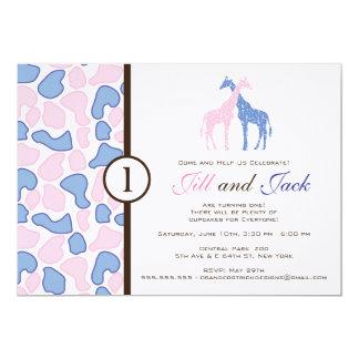 Convite do aniversário do girafa - meninos gêmeos