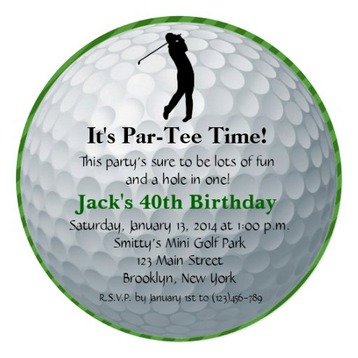 Convite do aniversário do golfe do homem