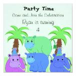 Convite do aniversário do hipopótamo da selva