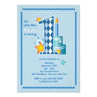 Convite do aniversário do homem pequeno primeiro