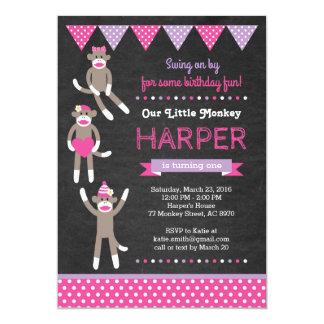 Convite do aniversário do macaco da peúga