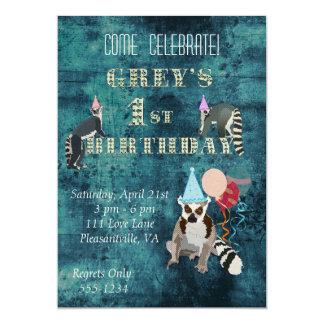 Convite do aniversário do marinho dos Lemurs Convite 12.7 X 17.78cm