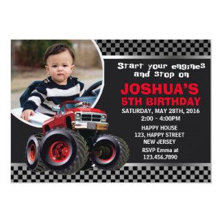 Convite do aniversário do monster truck