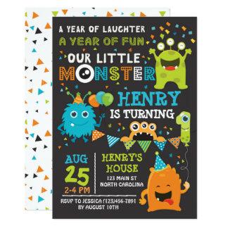Convite do aniversário do monstro o primeiro,