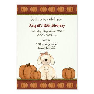 Convite do aniversário do outono do filhote de