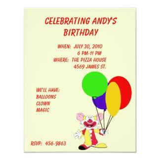 Convite do aniversário do palhaço da criança