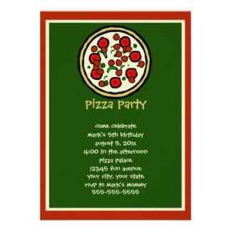 Convite do aniversário do partido da pizza