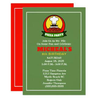 Convite do aniversário do partido da pizza dos