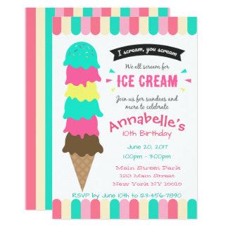 Convite do aniversário do partido do sorvete