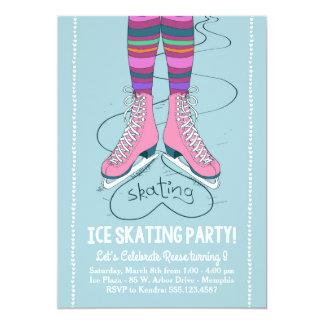 Convite do aniversário do patinagem no gelo -