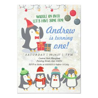 Convite do aniversário do pinguim do inverno