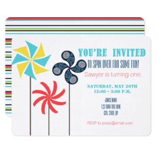 Cartão Convite do aniversário do Pinwheel {carnaval}