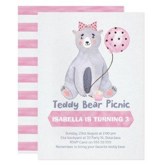 Convite do aniversário do piquenique do urso de