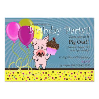 convite do aniversário do porco dos desenhos