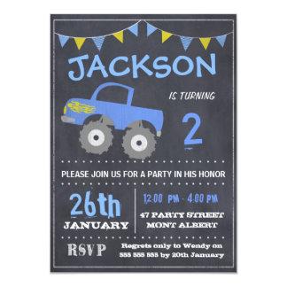 Convite do aniversário do quadro do monster truck