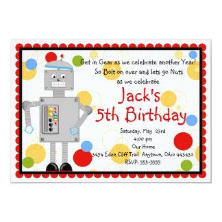 Convite do aniversário do robô