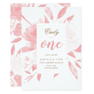 Convite do aniversário do rosa da aguarela da