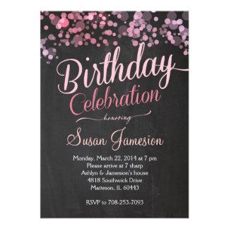 Convite do aniversário do rosa do brilho da faísca