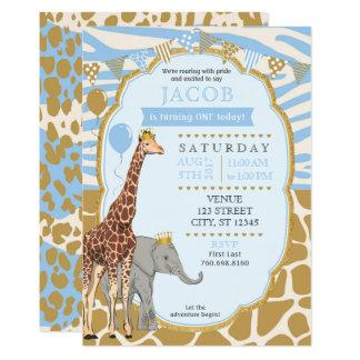 Convite do aniversário do safari - azul