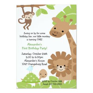 Convite do aniversário do safari de selva convite 12.7 x 17.78cm