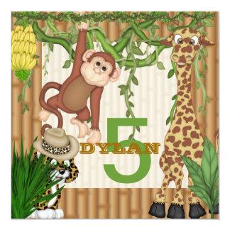 Convite do aniversário do safari de selva de S das