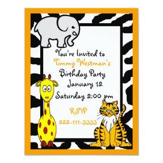Convite do aniversário do safari dos animais
