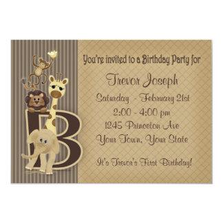 Convite do aniversário do safari nos marrons