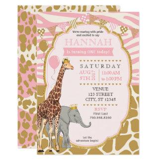 Convite do aniversário do safari - rosa
