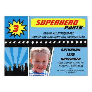 Convite do aniversário do super-herói da foto dos convite 11.30 x 15.87cm
