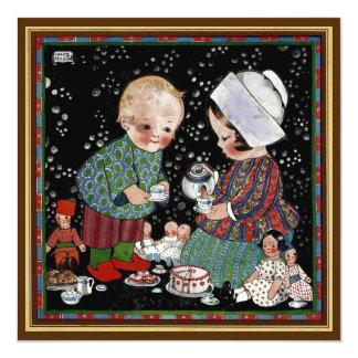 Convite do aniversário do tea party das crianças