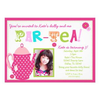 Convite do aniversário do tea party para meninas c