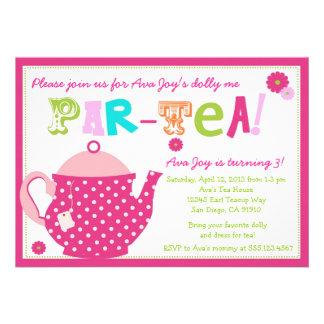 Convite do aniversário do tea party para meninas e