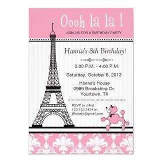 Convite do aniversário do tema da caniche & da