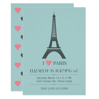 Convite do aniversário do tema de Paris