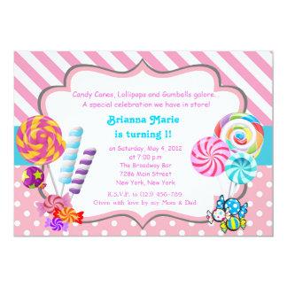 Convite do aniversário do tema dos doces de
