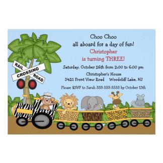Convite do aniversário do trem da selva do safari